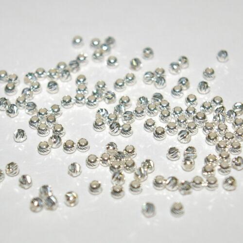 50 Piezas De 2.5 Mm De Plata Esterlina 925 corte láser de corte de diamante con textura Cuentas Redondas