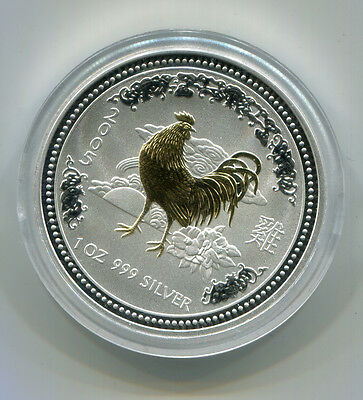 2005 AUSTRALIA $1 GILDED YEAR OF THE ROOSTER 1 OZ .999 SILVER COMMEMORATIVE