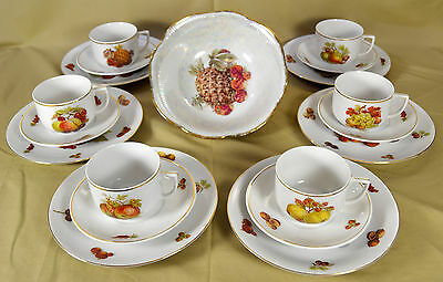 6 Seltmann Weiden K Bavaria FRUIT & NUT 3 Piece Place Settings with Serving Bowl