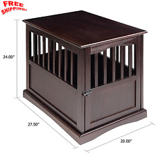 Pet Crate End Table Large Dog Kennel Furniture Cage Wood Wooden ...