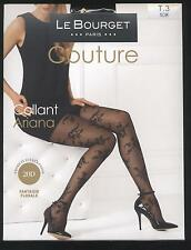 NEUF LE BOURGET COLLANT FANTAISIE FLORALE ARIANA NOIR TAILLE 3 MATIERES LUXUEUSE