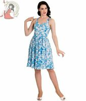 HELL BUNNY ESME tropical SUMMER floral DRESS WHITE BLUE
