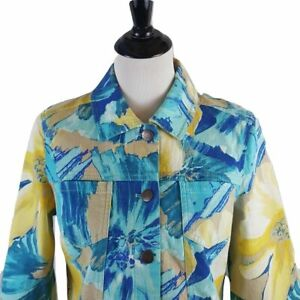 Additions-by-Chico-039-s-Womens-Shirt-Jacket-Size-1-Blue-amp-Yellow-Splash