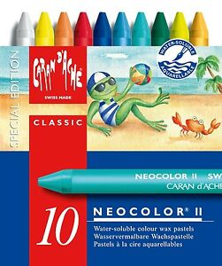 caran d ache neocolor ii tin of 10 water soluble wax pastels