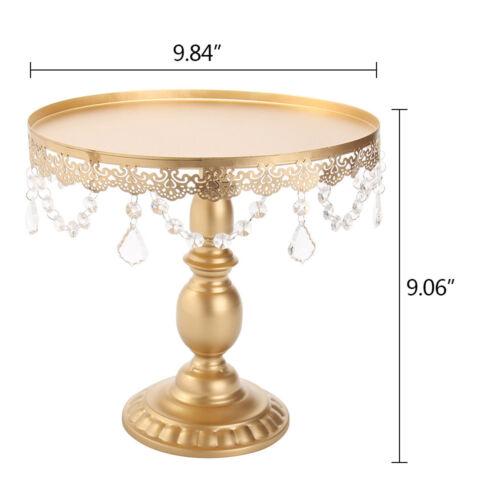 Crystal Round Metal Cake Holder Cupcake Dessert Stand Plate Wedding Display Set