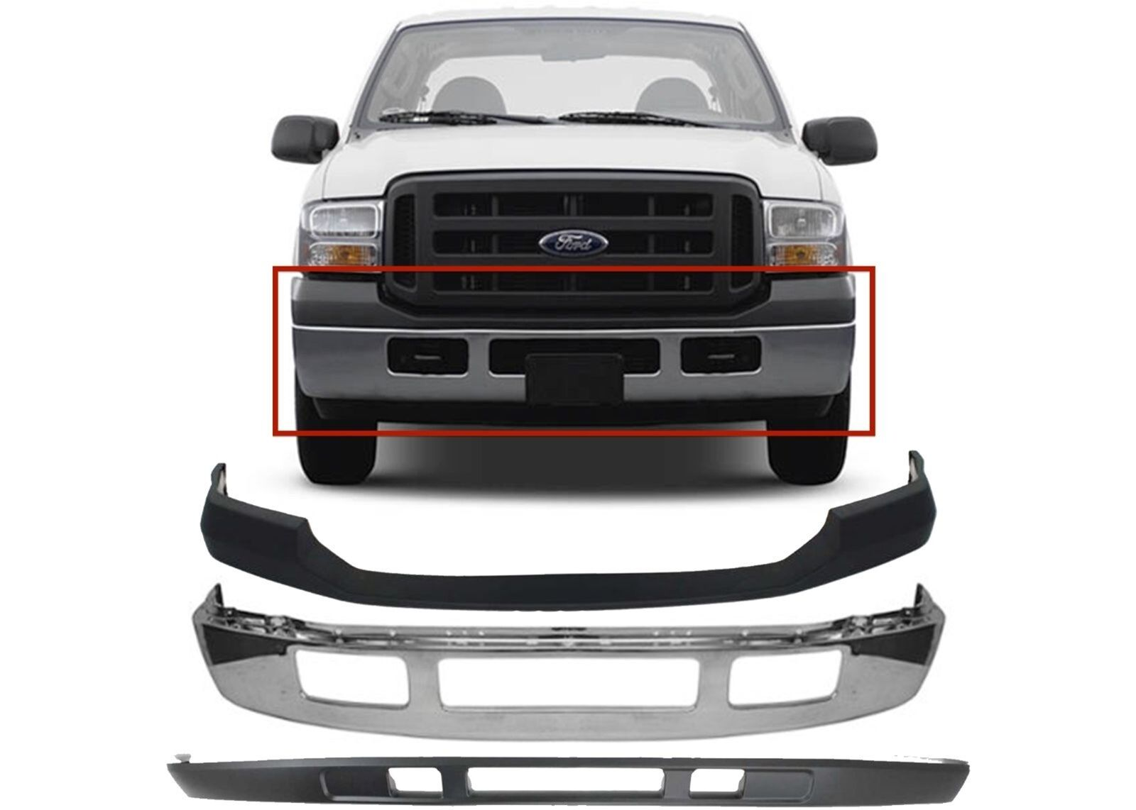 Replacement Front Bumper Combo For 2005 2007 Ford F 250 F