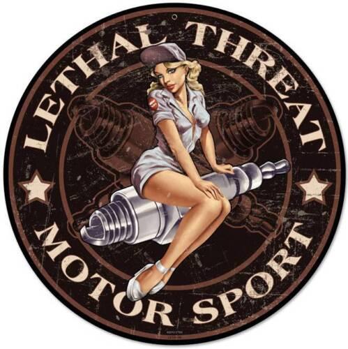 Lethal Threat Pin Up Girl Spark Plug Metal Sign Man Cave Garage Shop LETH136