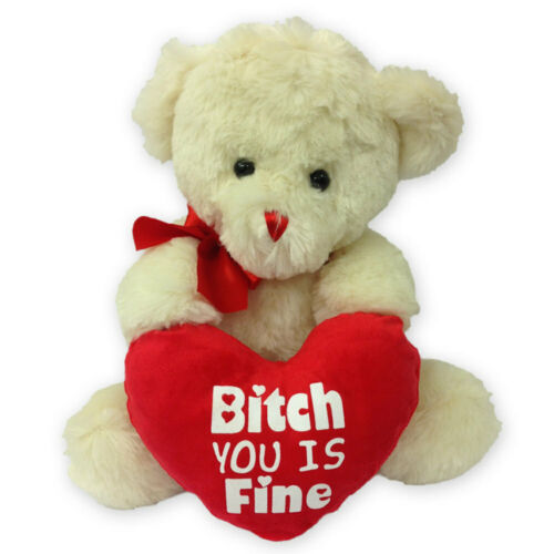 B*tch you is fine Teddy Mumbles Bear Soft Toy Valentine Funny Gift for her GF BF