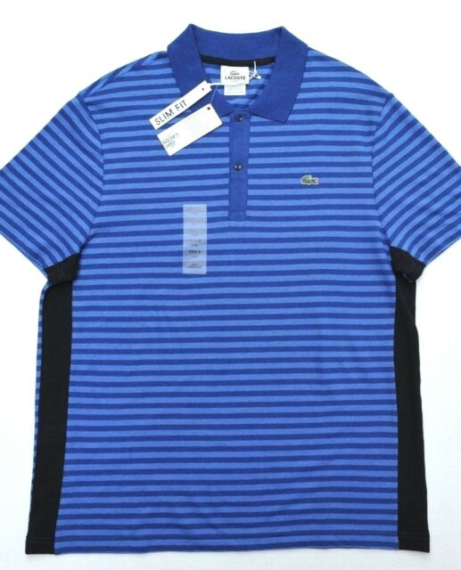 eeaa40e73e0 Lacoste Mens Short Sleeve Slim Fit Striped Cotton & Linen Polo Shirt L ...