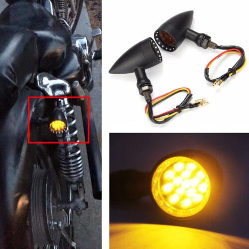 Motorcycle LED Black Bullet Amber Brake Running Turn Signal Tail Light Edge Cut