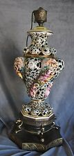 VINTAGE BRASS -CERAMIC LAMP VICTORIAN CHERUB ORNATE LARGE CAPODIMONTE STYLE