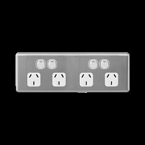 Deta S-line Matte Black Quad Vertical Wall Switch