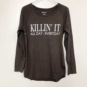 On-Fire-Womens-Shirt-Gray-Long-Sleeve-Killin-It-Graphic-Top-Size-Medium