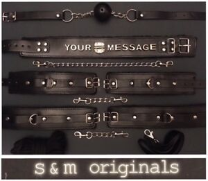 Bondage-collar-mouth-gag-rope-flogger-whip-hand-cuffs-ankle-back-restraints