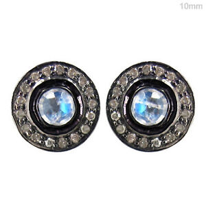 14-K-Gold-Moonstone-Diamond-Pave-925-Sterling-Silver-Stud-Earrings-Jewelry-10mm