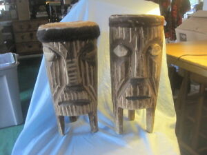 Set of 2 Hand-Carved Wood Tribal-primitive;rawhide;animal skin drum djembe bongo