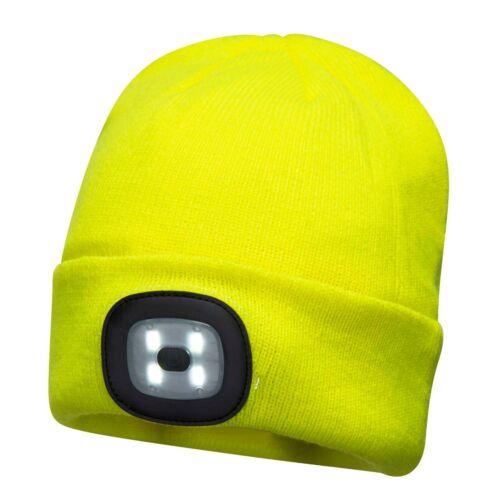 Portwest Beanie LED Testa Luce Ricaricabile USB Cappello Inverno Freddo B029