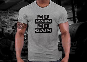 NO-PAIN-NO-GAIN-T-shirt-Crossfit-MMA-GYM-BODYBUILDING-MOTIVATION-Training-Tshirt