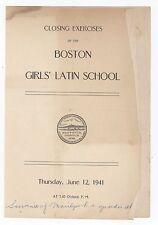 1941 BOSTON GIRLS' LATIN SCHOOL Graduation Program GIRLS Academy BLA Roxbury MA