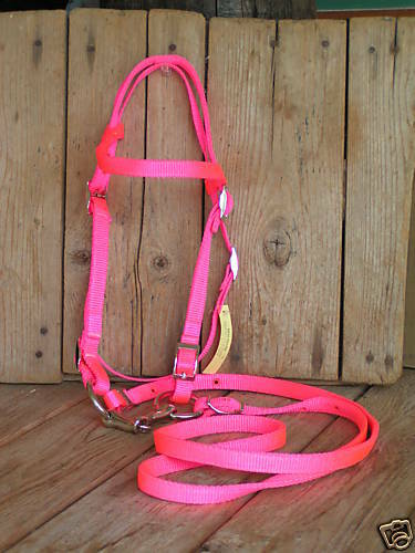 """USA made HOT PINK../""""Pony/""""..COMPLETE Nylon Bridle /& Bit"""