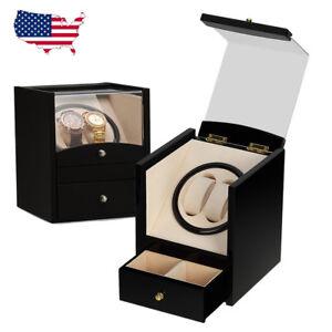 Automatic-Dual-Watch-Winder-2-Storage-Box-Watch-Display-Case-Organizer-Black
