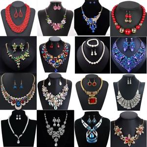 Fashion-Crystal-Necklace-Bib-Choker-Chain-Chunk-Statement-Pendant-Women-Jewelry