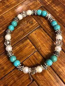 Pretty-Blue-Turquoise-Cultured-Pearls-Crystals-amp-Bali-Silver-Stretch-Bracelet