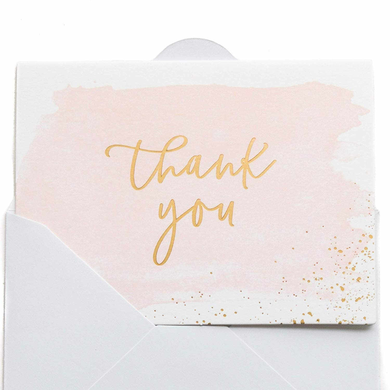 fbb0277ce067b Thank You Cards | 48 Blank Gold Foil Watercolor-Wedding Baby & Bridal Shower