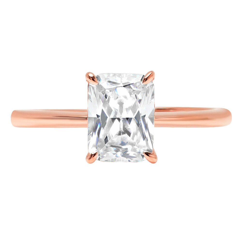 0.9ct RadiantCut Bridal Solitaire Statement Promise Ring Solid14k pink gold