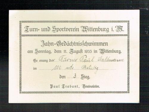 URKUNDE: WITTENBURG JAHN-GEDÄCHTNISSCHWIMMEN 1935