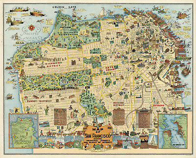 photograph about Printable Map of San Francisco named Early Whimsical Map of San Francisco California Poster Print Wall Decor Classic eBay