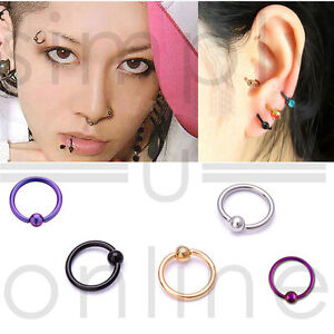 Surgical-Steel-Hoop-Ring-Piercing-Ball-Closure-Lip-Ear-Nose-Eyebrow-Nipple-Helix
