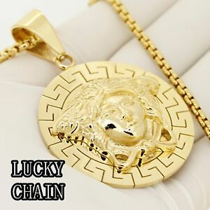"""STAINLESS STEEL GOLD VIRGIN MARY PENDANT 30/""""ROUND BOX CHAIN//66g//E652"""