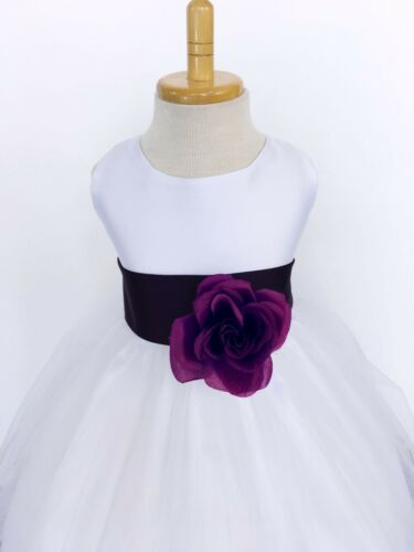 White Tulle Rose Petal Dress ALL SIZES Flower Girl Summer Fall Recital Party #24