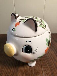 Vintage-Ceramic-PIG-w-Flowers-Biscuit-Cookie-Jar-JAPAN-Hand-Painted