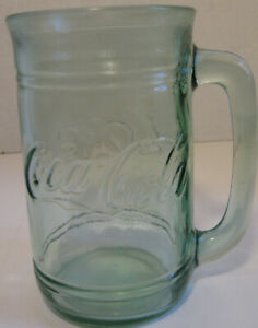 Vintage Coca Cola Embossed Clear Green Mug Stein With Handle 16 Ounce Capacity Ebay