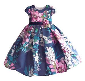 the latest 2935d ee271 Dettagli su Vestito Damigella Cerimonia Abito Bambina Stampa Fiori Girl  Party Dress DGZF031