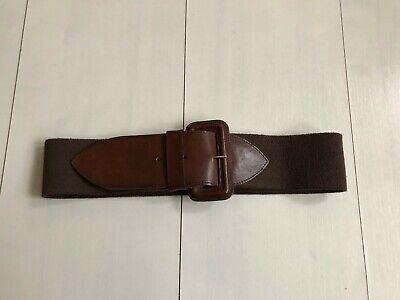 Analitico Pelle E Tessuto Elasticizzato Vintage Marrone Fibbia Cintura-originale Anni 1970- Senza Ritorno