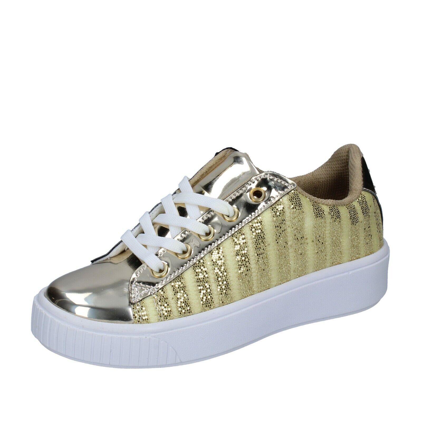 womens shoes LANCETTI 6 sneakers gold textile BP557-39 EU 39