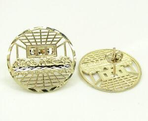 2-70-Grams-Mens-Ladies-10k-Real-Yellow-Gold-Round-Cage-Jesus-Earrings-Studs