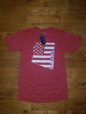 NWT Women/'s STATE OF MINE Charcoal Over-Sized American Flag S//S T-Shirt Size XL