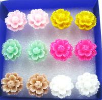 6 Pairs Elegant Lotus Stud Earring Mixed Color Flower Wholesale