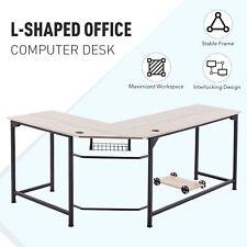 L Shaped Computer Desk W Tower Shelf Cable Management 66x19 47x19 Sides Oak Home