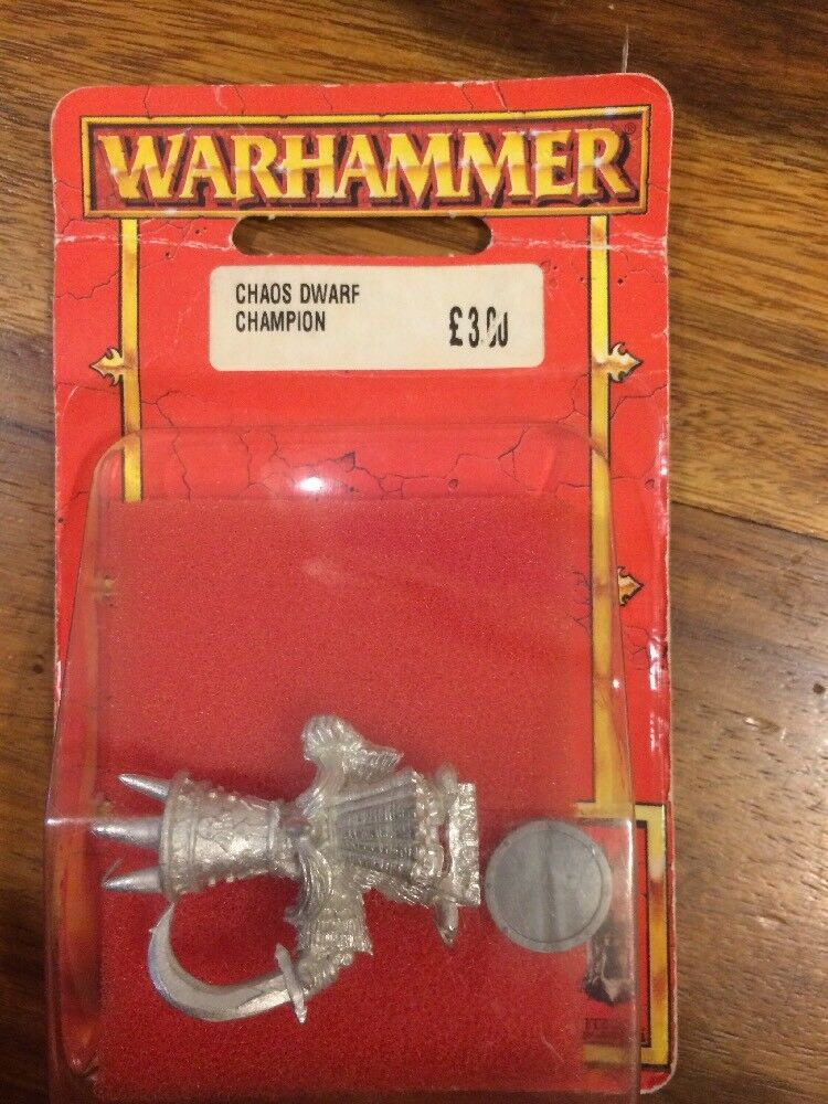 Chaos Dwarf Champion  Hero New Blister Warhammer Metal OOP