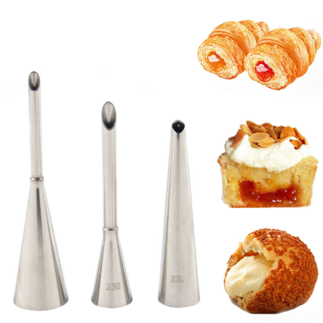 3pcs Puff Cream Nozzles Set Metal Piping Bag Tips Pastry Tool Cake Cupcake Decor