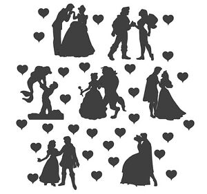 die cut outs silhouette disney couples x 14 set free hearts