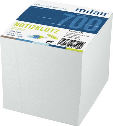 Notizklotz geleimt weiß Milan; #Notizklotz Zettelklotz# 275
