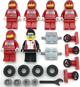 Lego-6-Neuf-Rouge-Racecar-Conducteur-Mini-Figurines-avec-Femelle-Roues-Outils