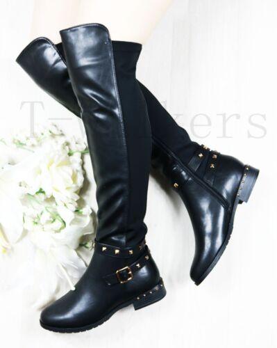 Femmes Clous Bas Talon Plat Genou Cuisse stretch bottes zippées Chaussures Taille