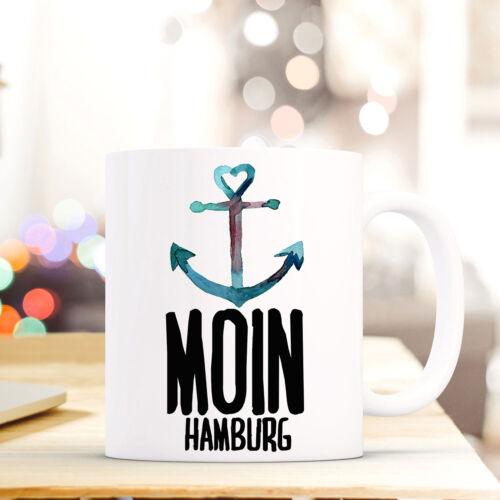 Tasse Becher Kaffeebecher Geschenk Kaffetasse Anker Spruch Moin Hamburg ts647